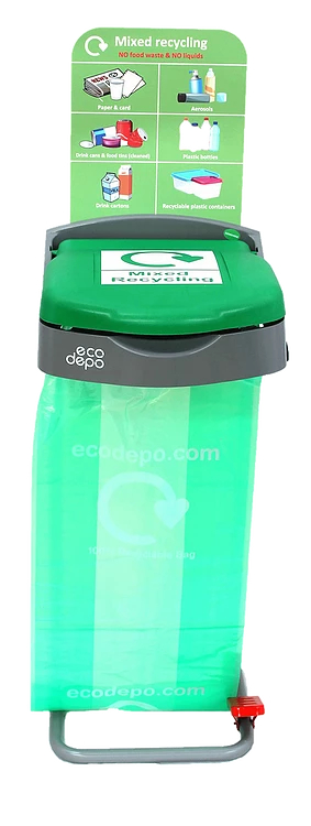 Recycling Pedal Bin - Mixed Recycling with Signage - EcoDepo