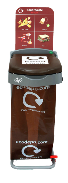 Recycling Pedal Bin - Food Waste with Signage - EcoDepo
